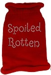 Spoiled Rotten Rhinestone Knit Pet Sweater SM Red